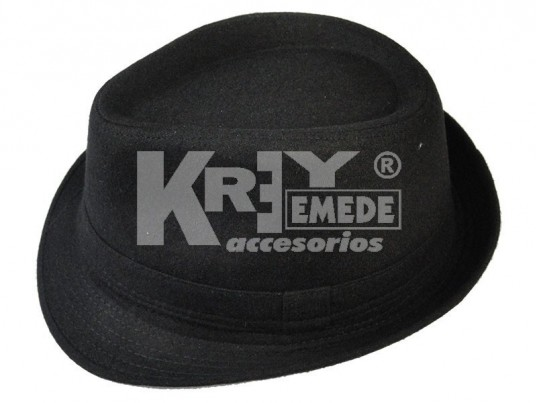 Sombrero de paño negro liso