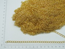 Cadena dorada simple eslabon redondo 1 mm x 50 mts
