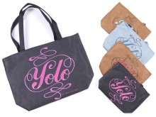 """Bolso shopping gamuzado """"You Only Live Once"""""""