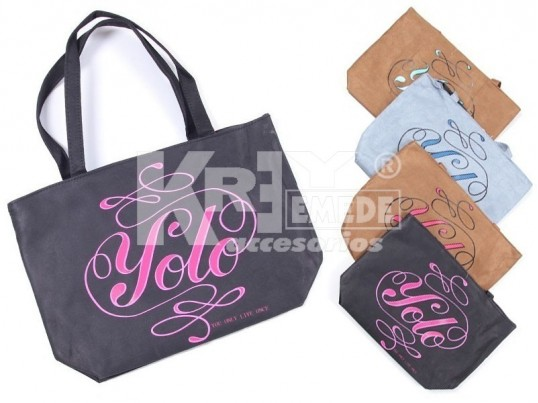 "Bolso shopping gamuzado ""You Only Live Once"""