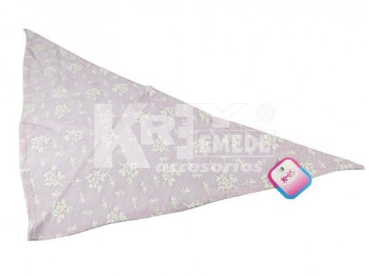 Triángulo rosa chico con flores blancas