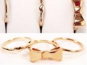 Set x 3 anillos falange corazon, moño y liso