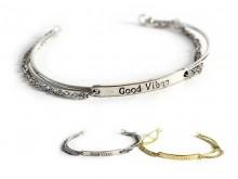 Pulsera good vibes con cadena