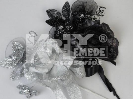Tocado plata flor de tul, cinta y purpurina