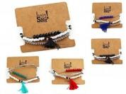 Set pulseras borla x3u