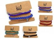 Set pulseras trenza gamuza y elefante x3u