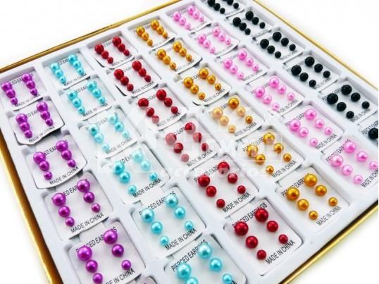 Aros perla en caja x 36 blister de 3 pares color