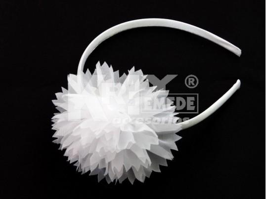 Vincha forrada 1 cm con flor de tul