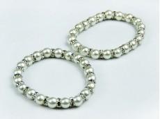 Pulsera perlas blancas N°10 y separadores de strass N°8
