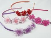 Vincha 3 flores de organza c/mostasillas