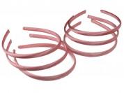 Vincha plástica forrada en raso rosado 1 cm